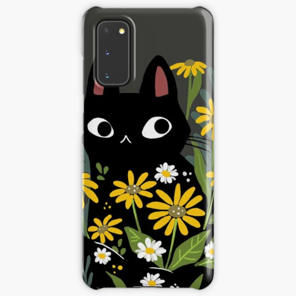 Black cat with flowers  Samsung Galaxy Snap Case