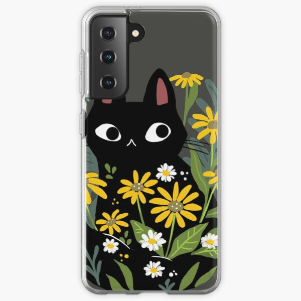 Black cat with flowers  Samsung Galaxy Soft Case