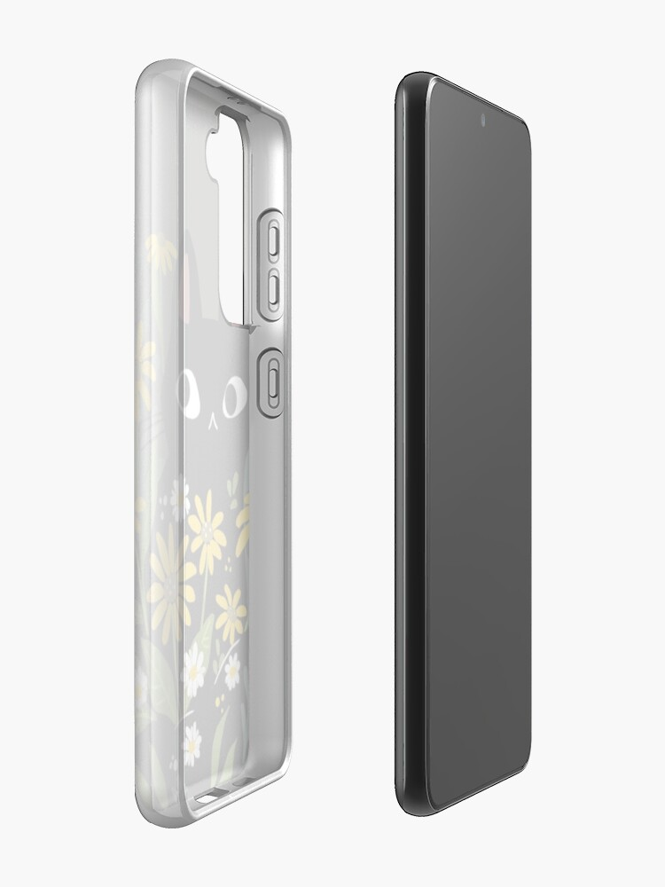 Alternate view of Black cat with flowers  Case & Skin for Samsung Galaxy