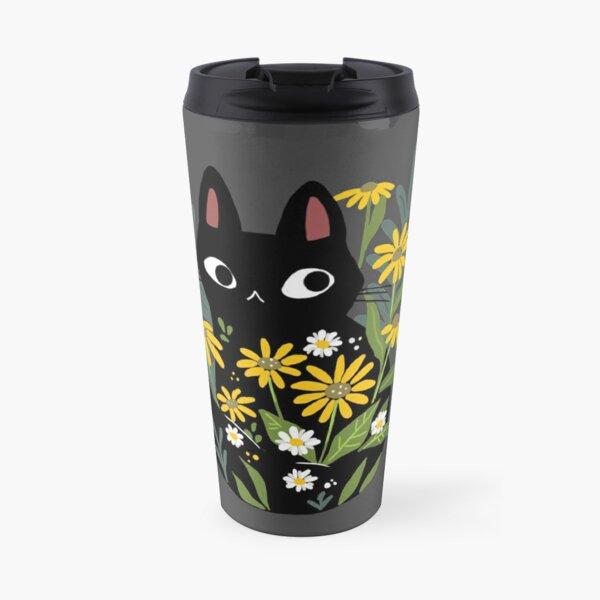 Black cat with flowers  Travel Mug