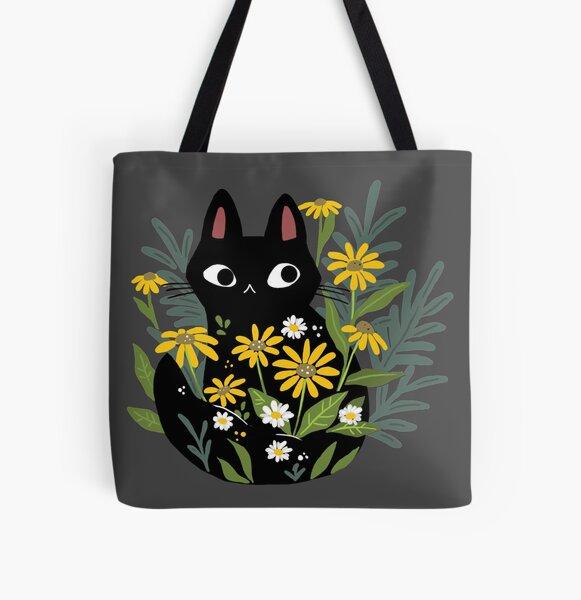 Chat noir avec des fleurs Tote bag doublé