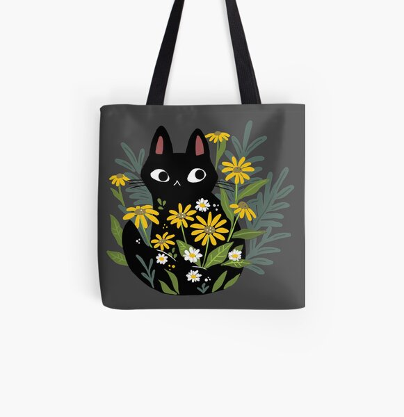 Black cat with flowers  All Over Print Tote Bag