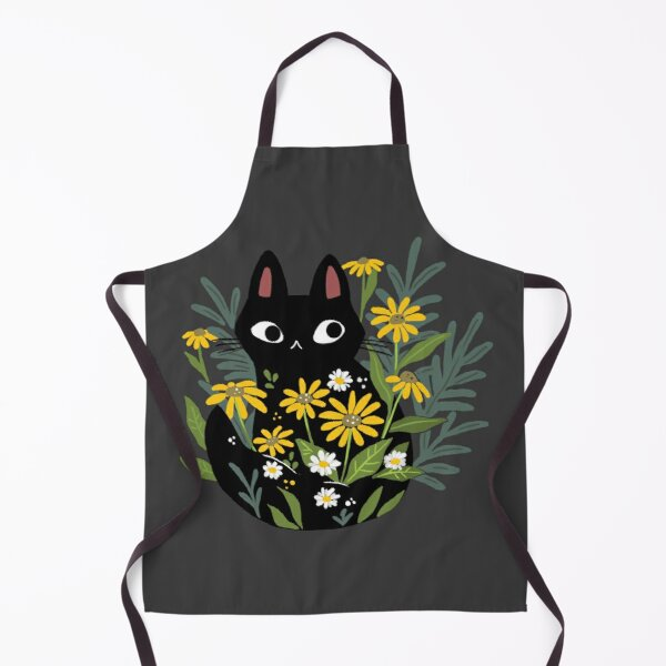 Black cat with flowers  Apron