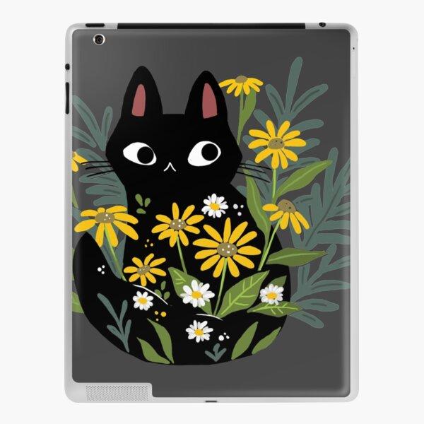 Black cat with flowers  iPad Skin
