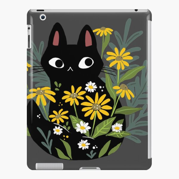 Black cat with flowers  iPad Snap Case