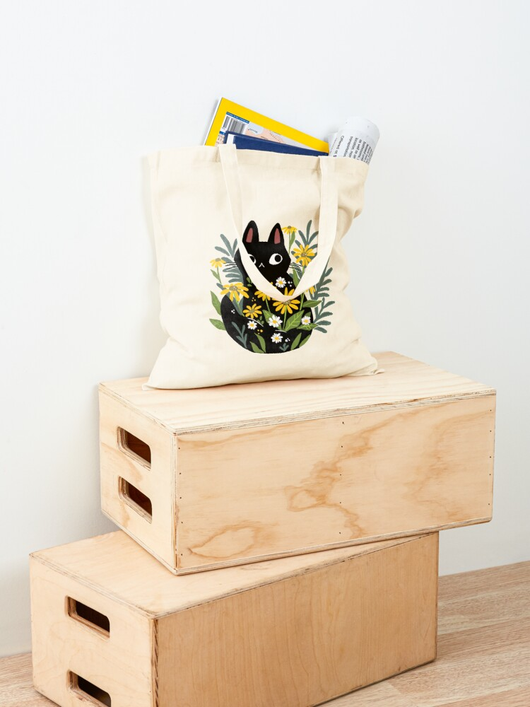 Alternate view of Black cat with flowers  Tote Bag