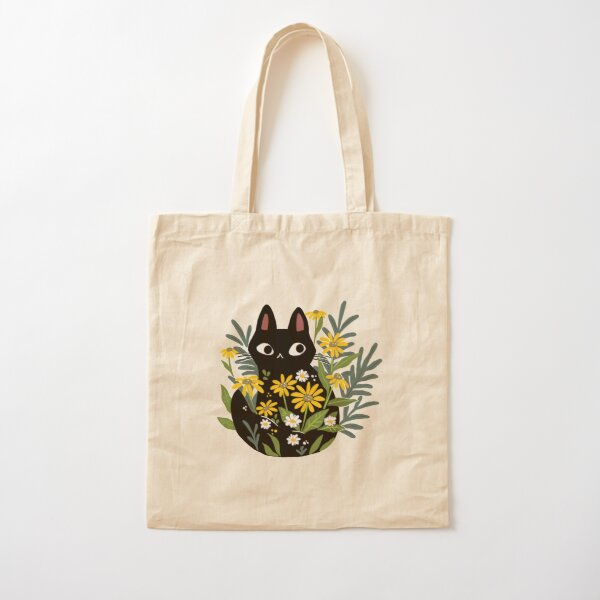 Black cat with flowers  Cotton Tote Bag