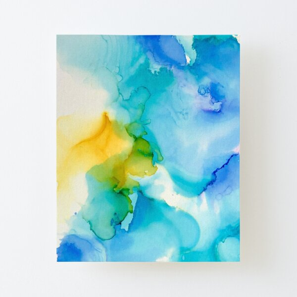 Wispy Blue Alcohol Ink Canvas Mounted Print