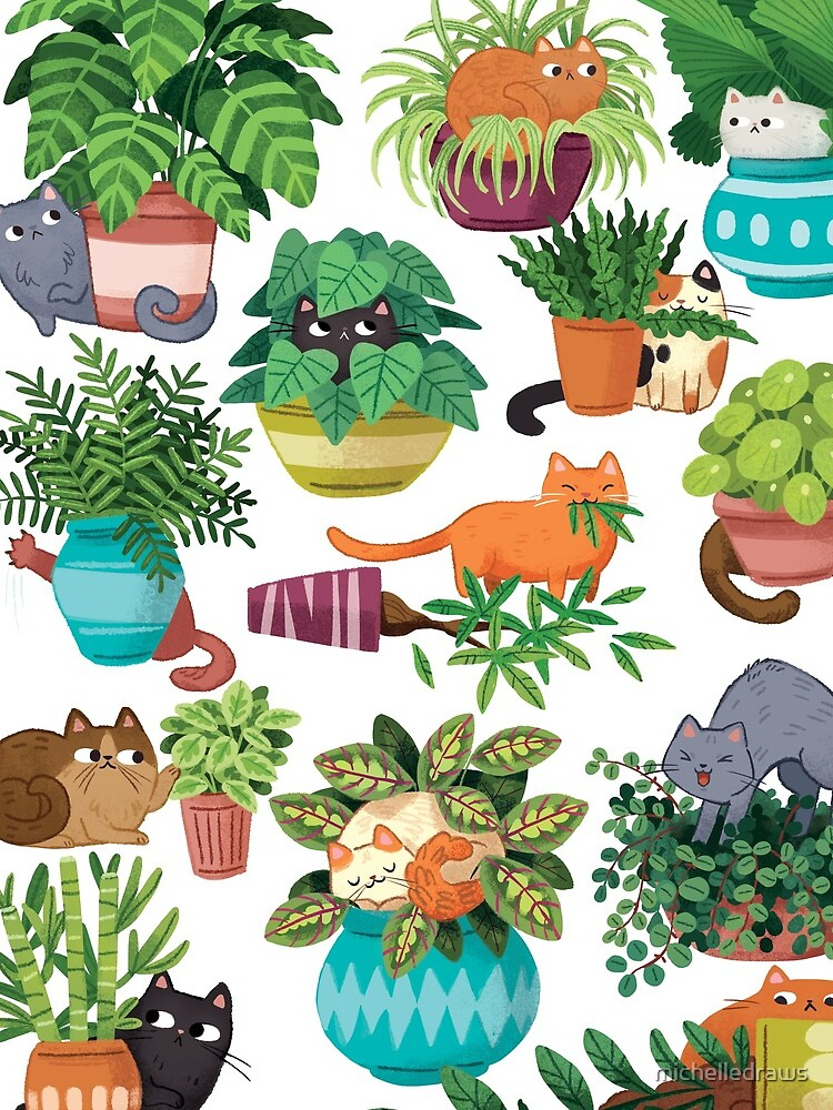 Cats And Plants  by michelledraws