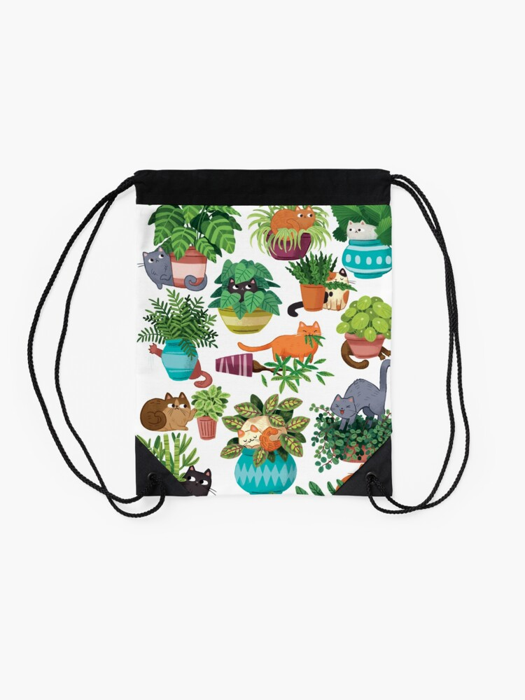Alternate view of Cats And Plants  Drawstring Bag