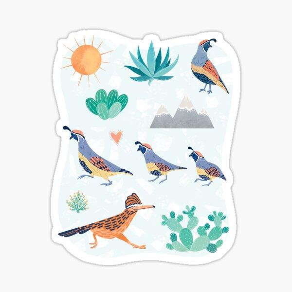 Desert Bird Quail Roadrunner & Cactus Sticker