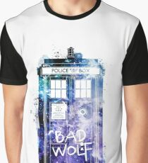 Doctor Who Tardis Bad Wolf Watercolor Graphic T-Shirt