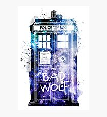 Doctor Who Tardis Bad Wolf Watercolor Photographic Print