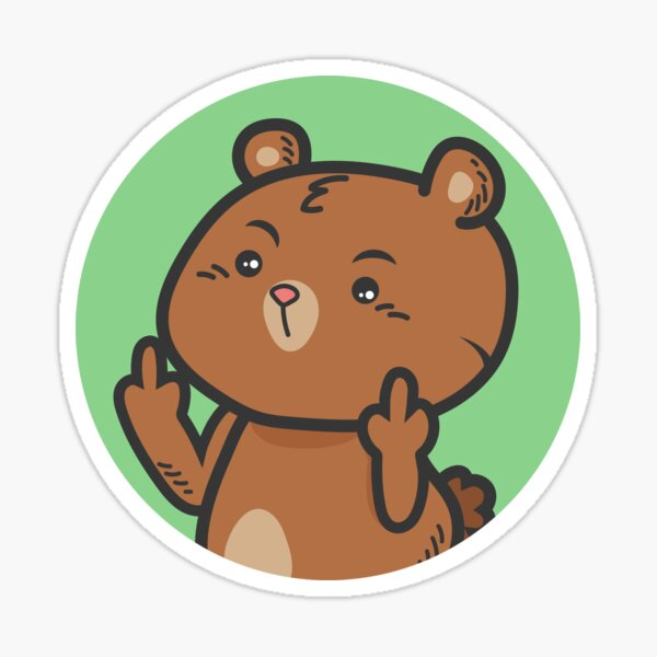 Pop socket Sticker cute bear fuck you symbol Sticker