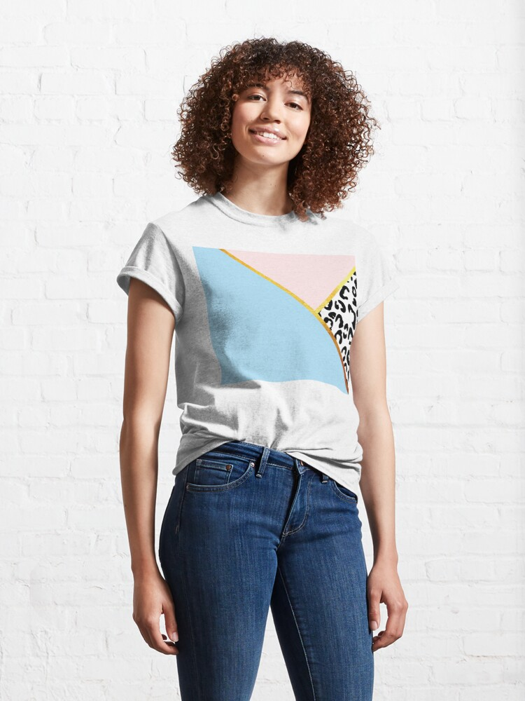 Alternate view of Abstract black and white leopard print, color blocking blue Classic T-Shirt