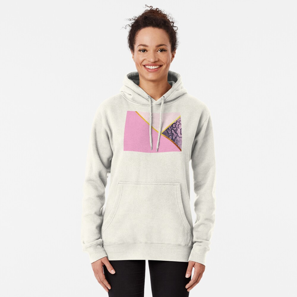 Abstract snake print, color blocking pink Pullover Hoodie