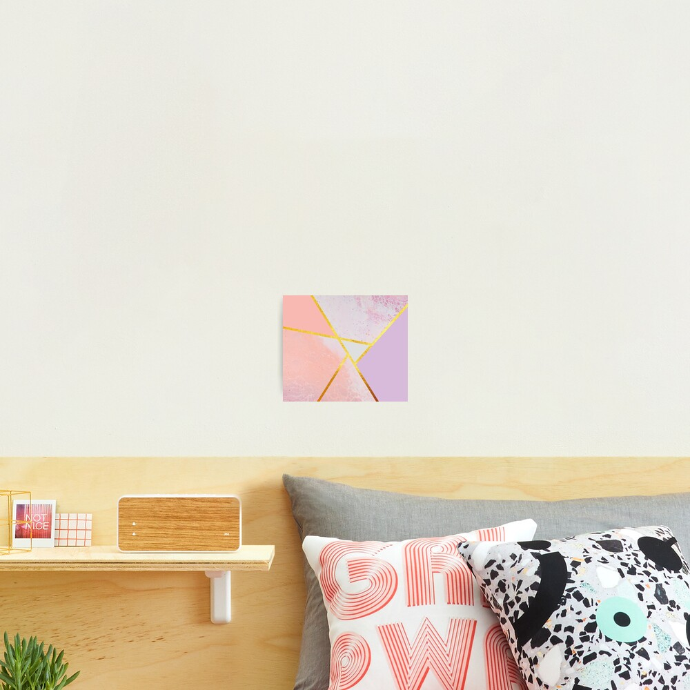Abstract paint print, color blocking pink Photographic Print