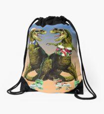 Rollerskating T-rex Lovers Drawstring Bag