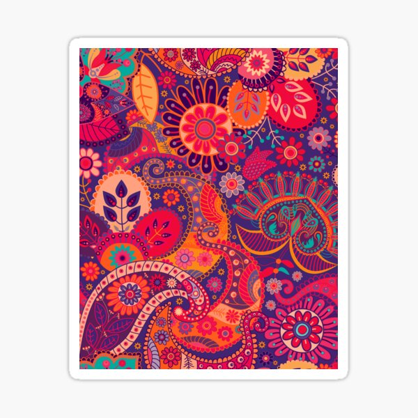 Floral Indian Seamless Pattern Sticker