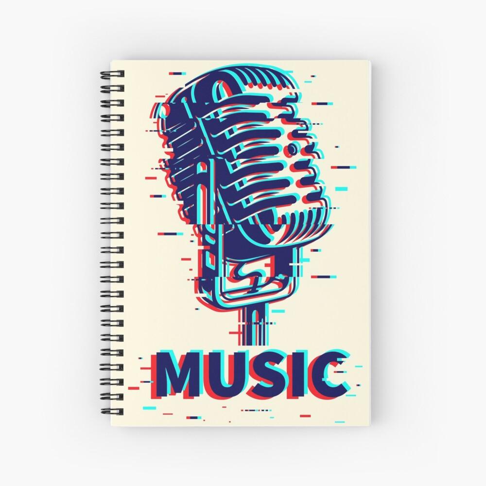 Music Retro Vintage Microphone Spiral Notebook