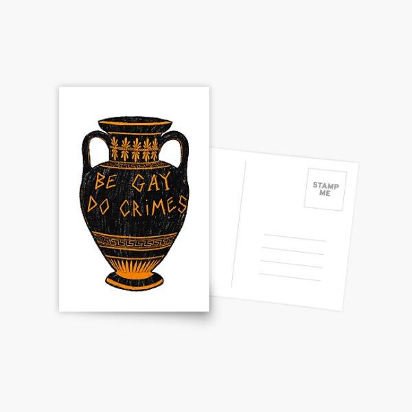 Vaso griego antiguo 'Sé gay, comete crímenes' LGBT + Arqueología Meme Postal