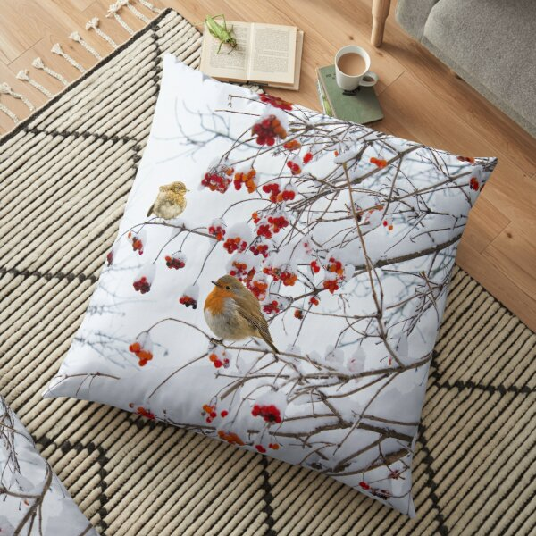 Red breast Robin family in Winter Floor Pillow