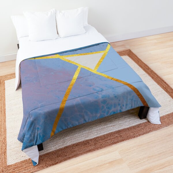 Abstract paint print, color blocking dark blue Comforter