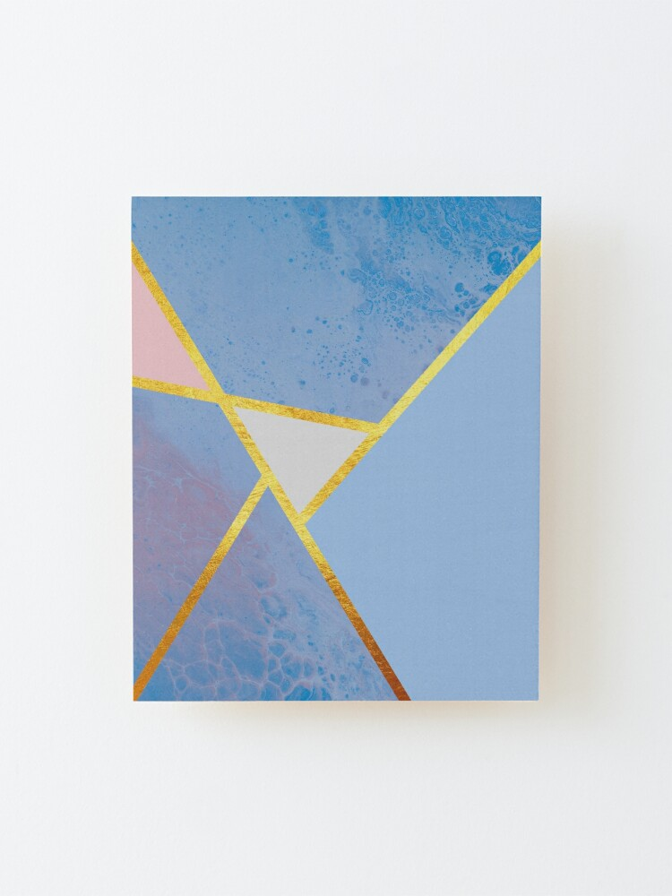Alternate view of Abstract paint print, color blocking dark blue Mounted Print