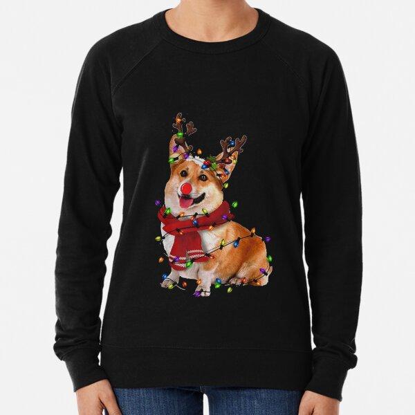 Christmas Reindeer Corgi Lightweight Sweatshirt