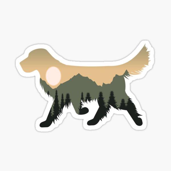 golden retriever dog forest mountain sunset gift Sticker