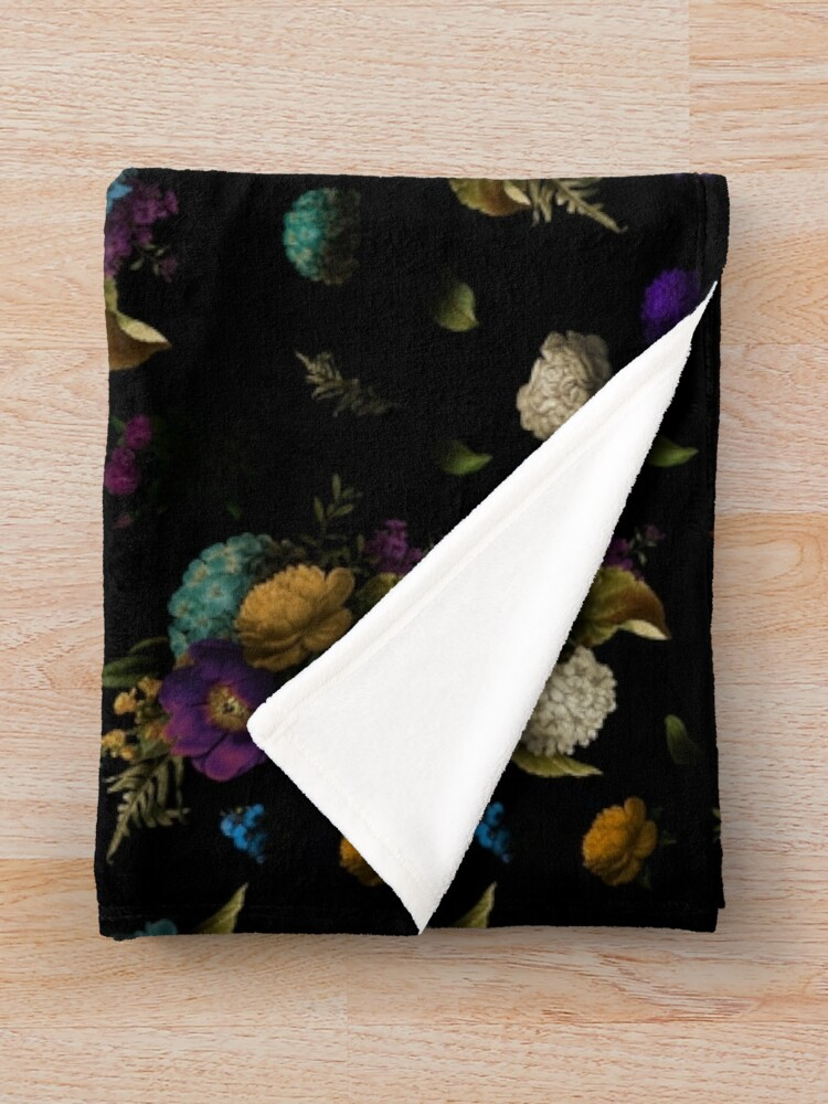 Alternate view of Vintage botanical shadow bouquet pattern Throw Blanket