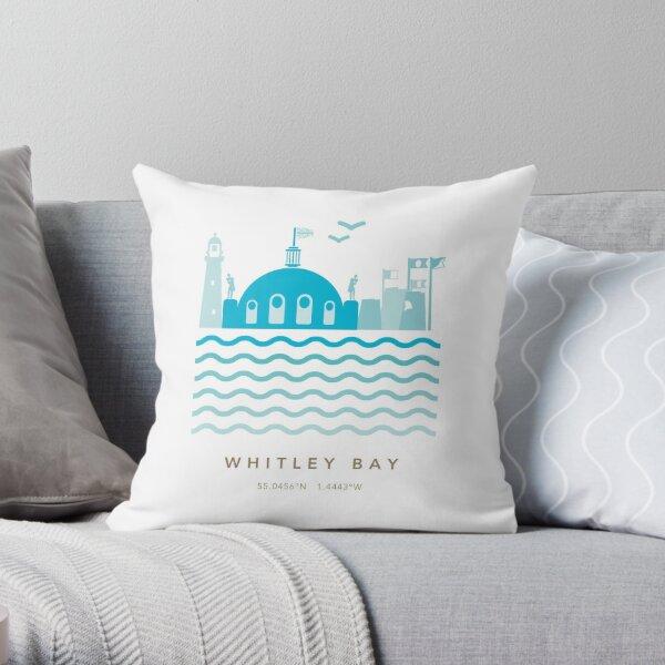 Whitley Bay Coastline Throw Pillow