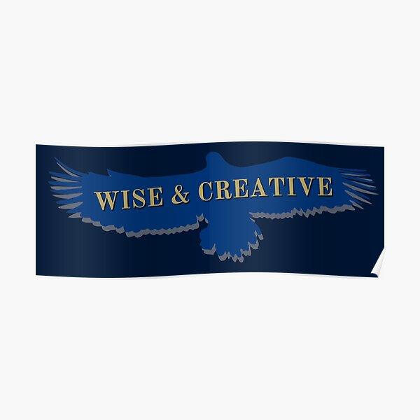 Blue Eagle Raven volando sabio y creativo Póster