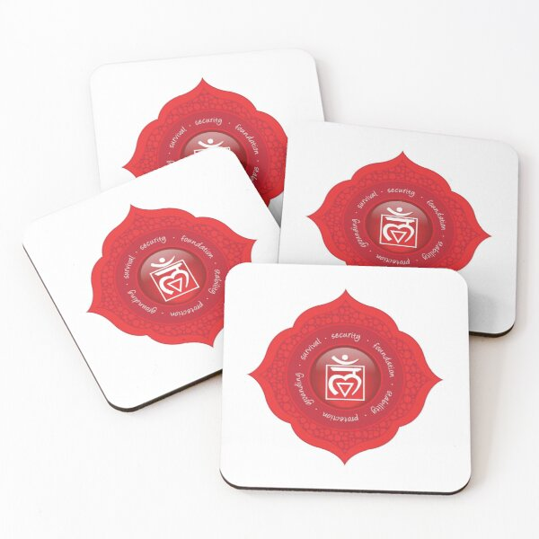 Root Chakra Mandala - 54 RWBG Coasters (Set of 4)