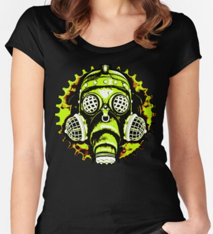 Steampunk / Cyberpunk Gas Mask Posterized Version Women's Fitted Scoop T-Shirt