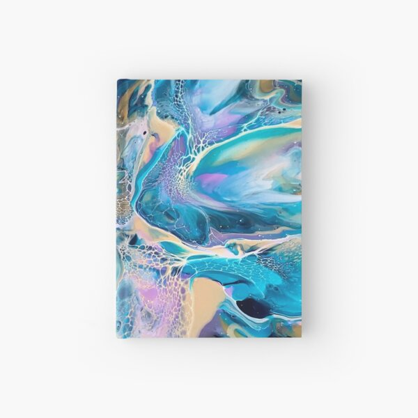 Rainbow 80's inpsired Abstract Fluid Art Painting. Pour Art.  Hardcover Journal
