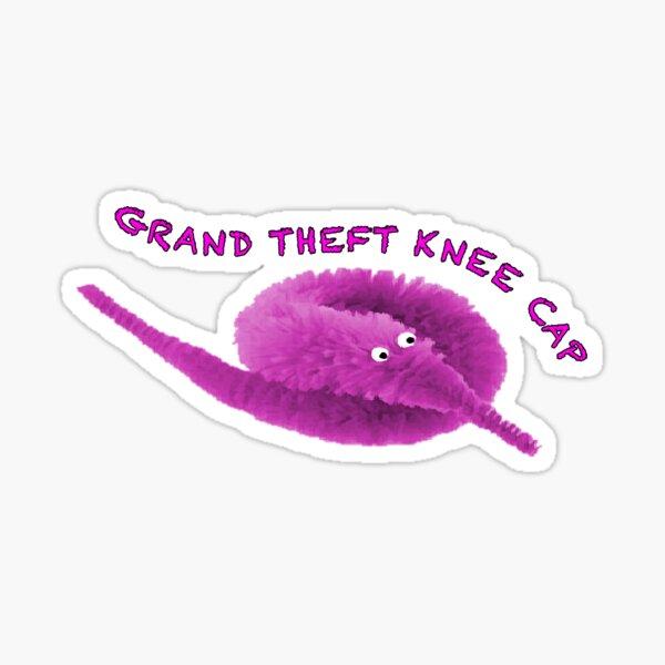 Worm on a string Grand Theft Knee Cap Sticker