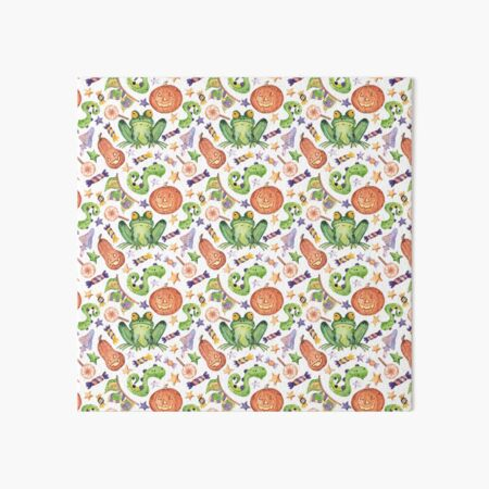 Cheerful pattern with pumpkins and toads for Halloween. Art Board Print