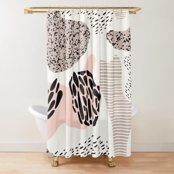 Abstraktes rosa und schwarzes Muster Duschvorhang