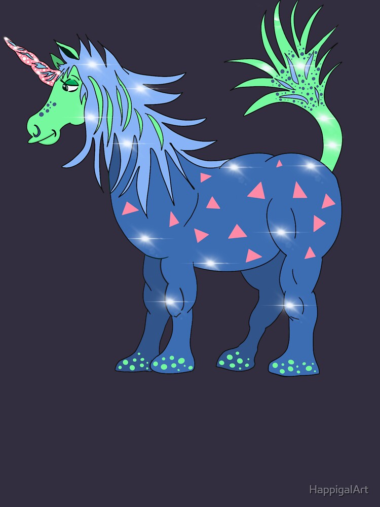 Mystical Magical Unicorn Blue by HappigalArt
