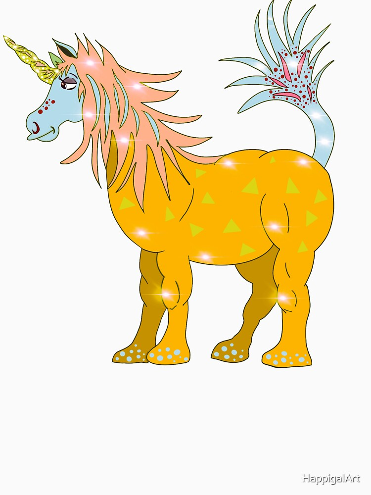 Mystical Magical Unicorn Yellow by HappigalArt
