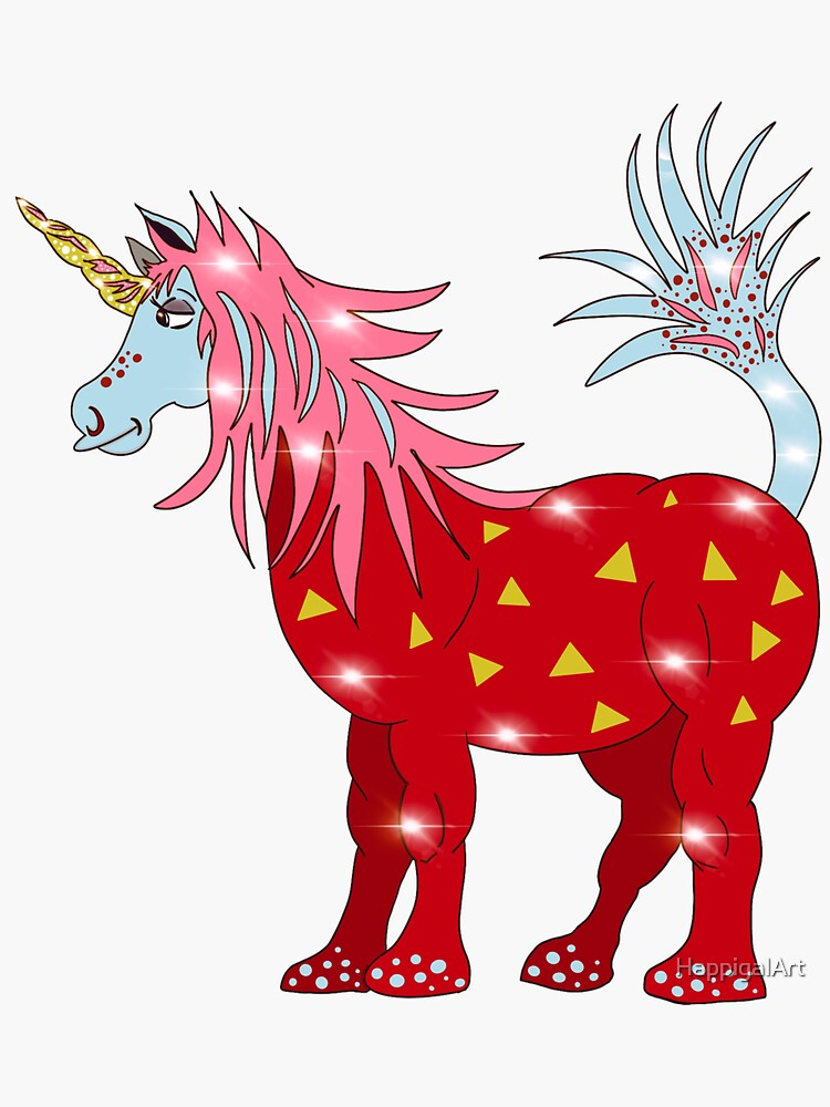 Mystical Magical Unicorn Red by HappigalArt