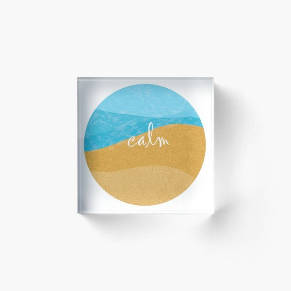 Beach Swirl Calm Acrylic Block