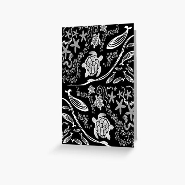 Black and white underwater scene turtles starfish Greeting Card
