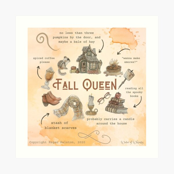 Fall Queen Illustration in Watercolor Art Print