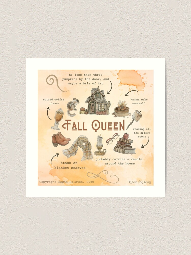 Alternate view of Fall Queen Illustration in Watercolor Art Print