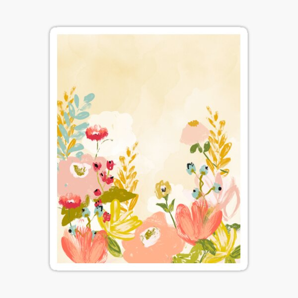 Whimsical Flowers, pink and golden yellow by Terri Conrad Sticker