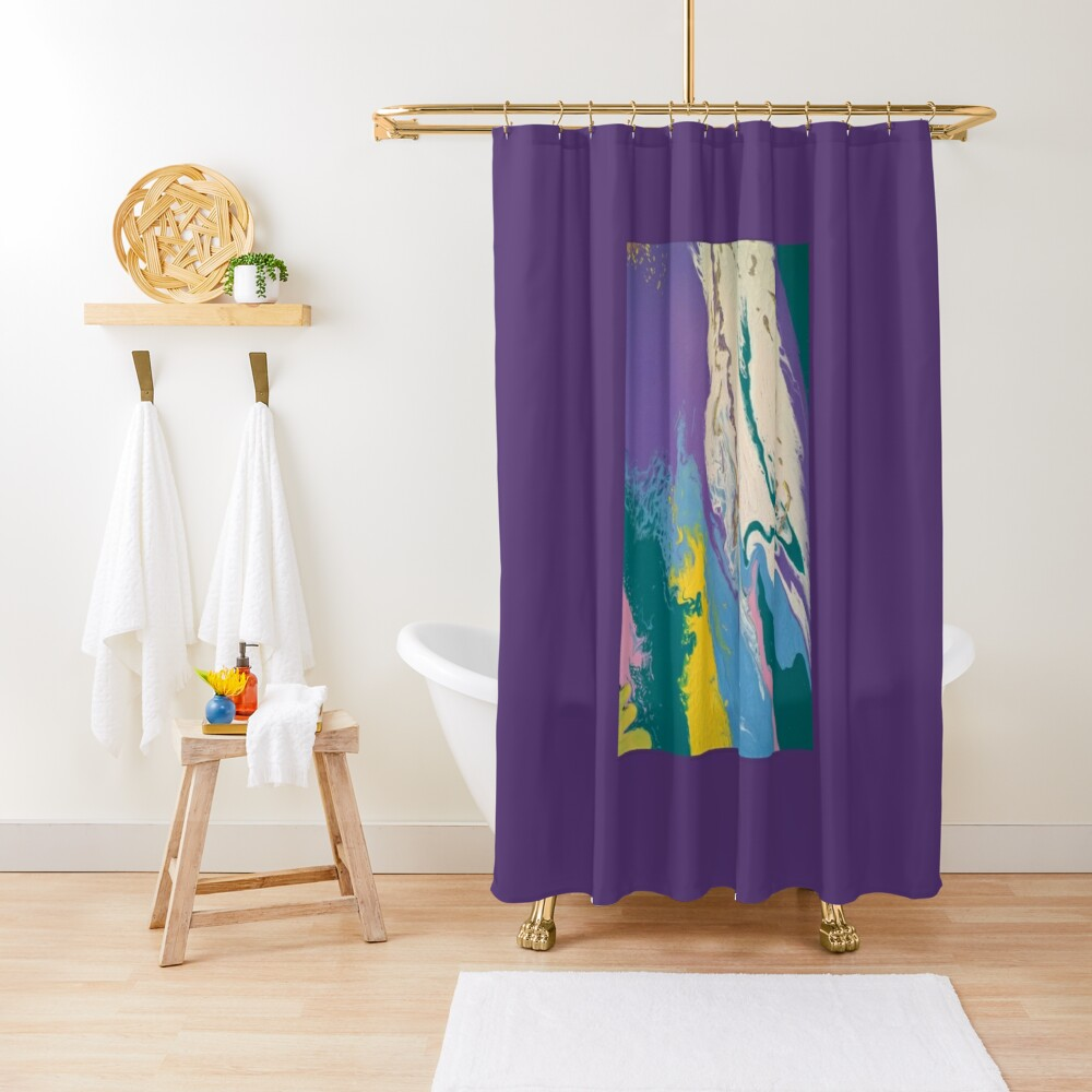 "Abstract Painting- ""South Beach, Art Deco District""-Hotels on Ocean Drive Shower Curtain"
