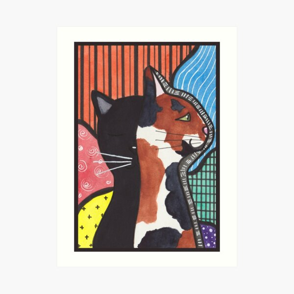Abstract Cats Art Print