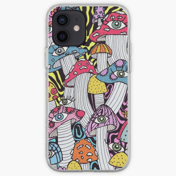 sloppy, trippy, psychedelic and extremely colorful mushrooms with eyes and flowers iPhone Soft Case